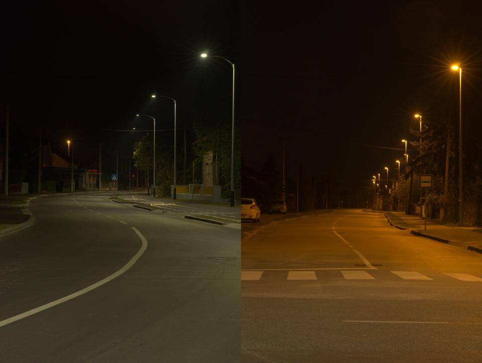 """Usporedba homogenosti osvjetljavanja plohe s LED i """"klasičnom"""", natrijevom rasvjetom."""