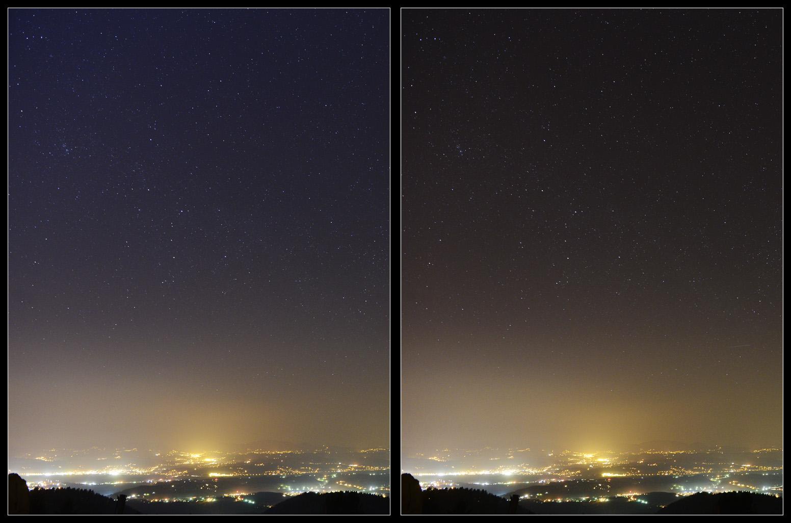 Lijevo: upaljeni reflektori; desno: ugašeni reflektori skijališta na Medvednici.
